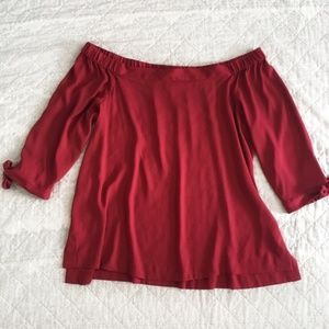 Loft Red Off the Shoulder Tied Sleeves Blouse